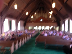 A blurry photo I took from the pulpit.